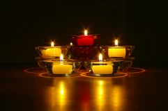 Nachtzeit-Kerzen Lizenzfreies Stockbild