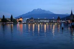 Nachtzeit in Luzerne Lizenzfreie Stockbilder