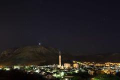 Nachtzeit in Mostar Stockbilder