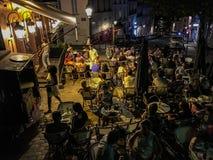 Nachtzeit-Paris-Café Lizenzfreies Stockbild