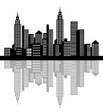 Nachtzeit-Stadt mit Schatten Stockbilder