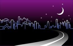 Nachtzeit-Stadt-Skyline Stockfotos