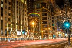 Nachtzeit Streetscape in Chicago Illinois im Winter Stockbild