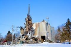 Nachwirkungsfeuer zerstört Mühle Lizenzfreies Stockbild