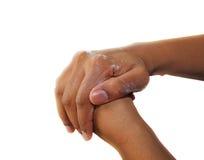 Nacierać ręki w mydle Zdjęcia Royalty Free