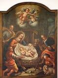Nacimiento de Jesús, adoración de los pastores Foto de archivo libre de regalías