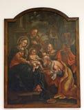 Nacimiento de Jesús, adoración de unos de los reyes magos Imagen de archivo
