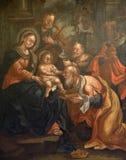 Nacimiento de Jesús, adoración de unos de los reyes magos Foto de archivo