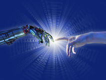 Nacimiento de la inteligencia artificial - explosión del binario Imagenes de archivo