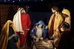 Nacimiento de Maria del stabl de la escena de la natividad de Jesus Christmas Imagen de archivo libre de regalías