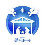 Nacimiento del bebé Jesús de Cristo en el pesebre Familia santa magi ángeles Estrella de Belén - cometa del este La Navidad de la ilustración del vector
