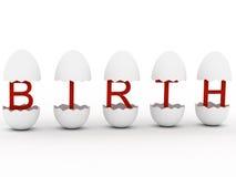 ?Nacimiento? en huevo Imágenes de archivo libres de regalías