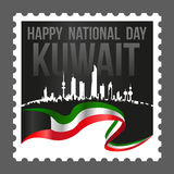 Nacional de Kuwait de la forma y sello cuadrados del día de la liberación Imagen de archivo libre de regalías