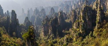 Nacional Forest Park de Zhangjiajie Montanhas gigantescas da coluna que aumentam da garganta Montanha de Tianzi Província de Huna imagem de stock
