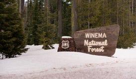 Nacional Forest Welcome Sign de Winema de maderas del invierno Imagenes de archivo
