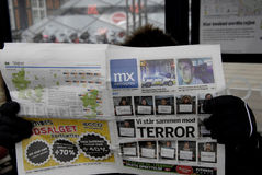 NACIONAL Y MEDIOS TERRO DE LA INTERNACIONAL EN COPENHAGUE Imágenes de archivo libres de regalías