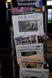 NACIONAL Y MEDIOS TERRO DE LA INTERNACIONAL EN COPENHAGUE Foto de archivo libre de regalías