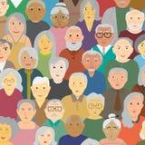 Nacionalidad de la variedad de personas mayores stock de ilustración