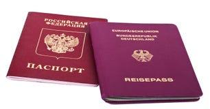 Nacionalidade dobro - russo & alemão Foto de Stock Royalty Free