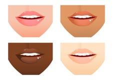 Naciones de los labios de la mujer diversas Imagen de archivo libre de regalías