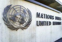 Naciones Unidas Badge en Ginebra Imágenes de archivo libres de regalías