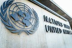 Naciones Unidas Badge en Ginebra Imagen de archivo libre de regalías