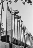 Naciones Unidas blancos y negros Imagen de archivo