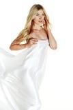 Nackte Frau auf Weiß Stockbilder
