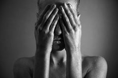 Nackte Frau mit silberner Verfassung Stockbilder