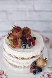 Nackter Kuchen mit karamellisierten Früchten - Erdbeeren, Blaubeeren, Himbeeren Schwammcremekuchen im Blumenhochland, Behälter Stockbild