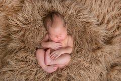 Nacktes Baby, das auf einem Kissen, topview schläft Lizenzfreies Stockbild