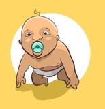 Nacktes Baby mit einem Friedensstifter versucht aufzustehen lizenzfreie abbildung