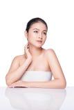 Nacktes Make-up Schönheits-Badekurort-Asiatin mit perfektem Stockfotografie
