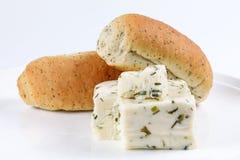Naco de Herb Cheese e do pão fotografia de stock