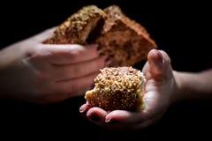Naco de pão fresco nas mãos da mulher imagem de stock