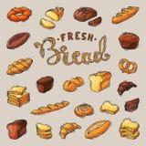 Naco ou baguette do pão do cozimento do vetor do breadstuff da padaria cozido pelo padeiro em ilustração ajustada da padaria sobr ilustração do vetor