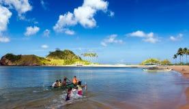 Nacpan海滩的孩子 图库摄影