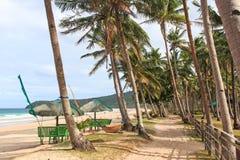 Nacpan,巴拉望岛,菲律宾海滩  免版税库存照片