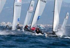 Nacra在赛船会期间的类航行在帕尔马 免版税库存图片