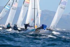 Nacra在赛船会期间的类航行在浮体的马略卡宽细节 库存图片
