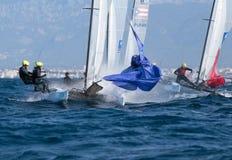 Nacra在赛船会期间的类航行在马略卡细节 免版税图库摄影