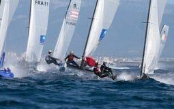 Nacra在赛船会细节期间的类航行 免版税库存照片