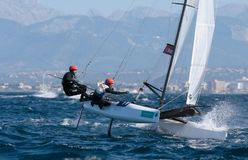 Nacra 17在赛船会期间的类航行在帕尔马细节 免版税图库摄影
