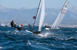Nacra 17在赛船会期间的类航行在帕尔马细节 图库摄影