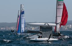 Nacra 17在赛船会期间的类转交在帕尔马 免版税库存图片