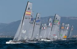 Nacra class sailing during regatta starting royalty free stock photos