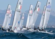 Nacra 17 klasse die tijdens regatta in palma DE Mallorca varen Royalty-vrije Stock Afbeelding