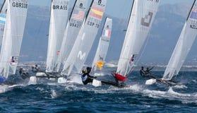 Nacra 17 klasse die tijdens regatta in palma DE Mallorca wijd varen Stock Afbeeldingen