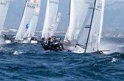 Nacra 17 klasse die tijdens regatta in palmade Mallorca detail varen Royalty-vrije Stock Foto