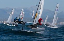 Nacra 17 klasse die tijdens regatta in palmade Mallorca detail varen Stock Afbeelding